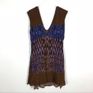 FREE PEOPLE Summer Dress blue brown mini Sz M